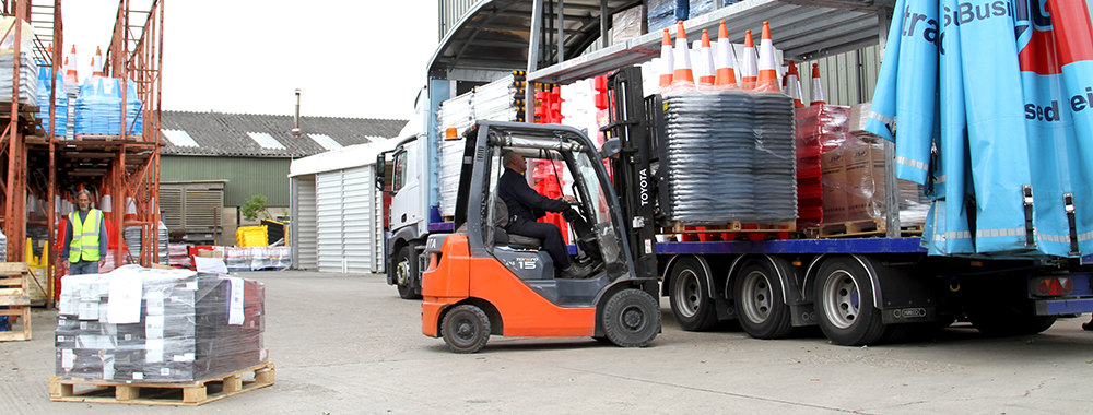 JSP loading lorry with cones for delivery
